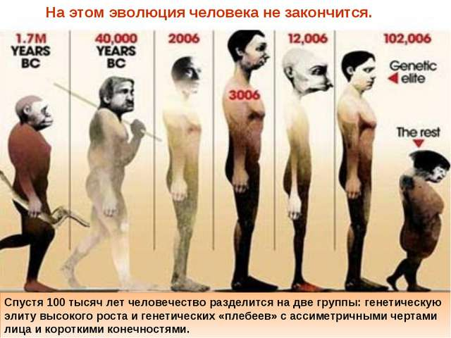 На этом эволюция человека не закончится. Спустя 100 тысяч лет человечество р...