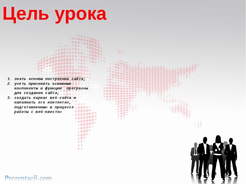 1. знать основы построения сайта; 2. уметь применять основные компоненты и ф...