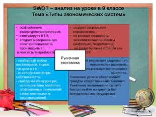 SWOT – анализ на уроке в 9 классе Тема «Типы экономических систем» эффективно