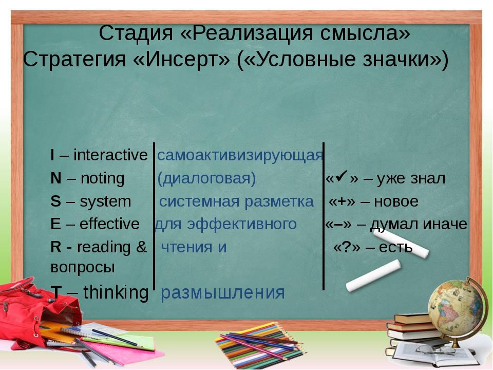 Стадия «Реализация смысла» Стратегия «Инсерт» («Условные значки») I – interac...