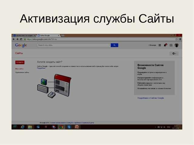 Активизация службы Сайты