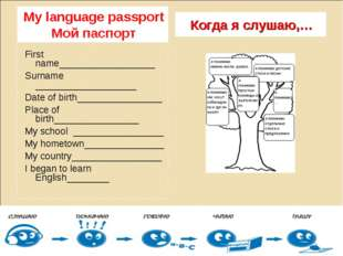 My language passport Мой паспорт Когда я слушаю,… First name_________________