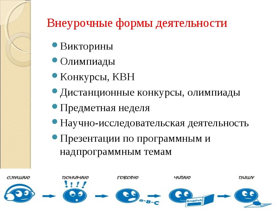 Внеурочные формы деятельности Викторины Олимпиады Конкурсы, КВН Дистанционные...