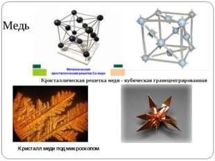Медь Кристаллическая решетка меди - кубическая гранецентрированная Кристалл м