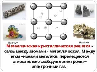 Металлическая кристаллическая решетка - связь между атомами - металлическая.
