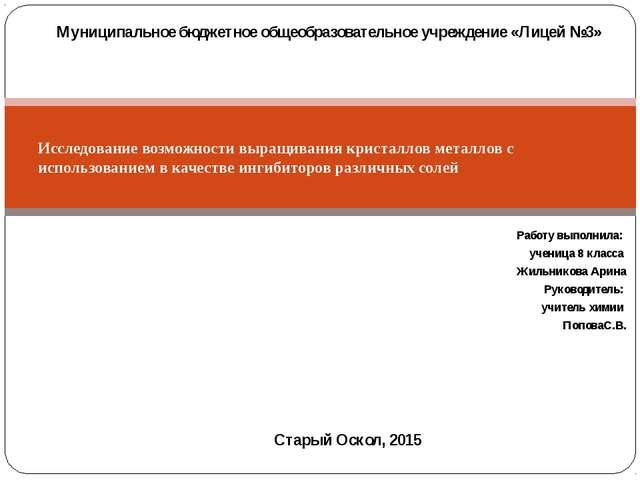 Работу выполнила: ученица 8 класса Жильникова Арина Руководитель: учитель хим...