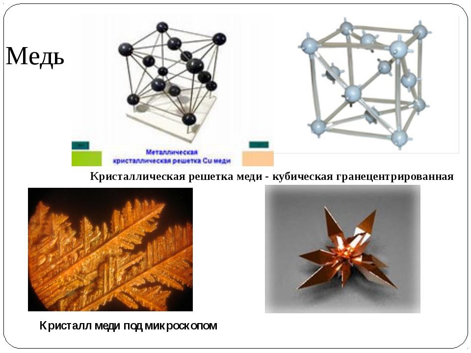 Медь Кристаллическая решетка меди - кубическая гранецентрированная Кристалл м...