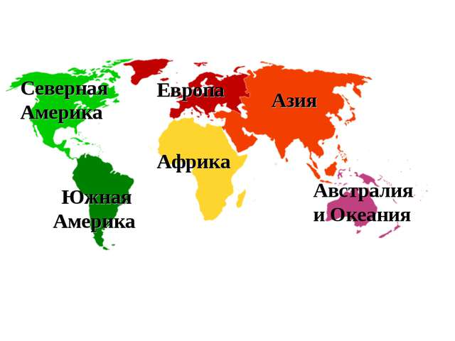 Азия Европа Африка Северная Америка Южная Америка Австралия и Океания