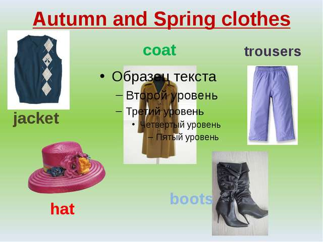 Autumn and Spring clothes jacket hat boots coat trousers