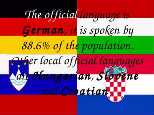 The official language is German, it is spoken by 88.6% of the population. Ot