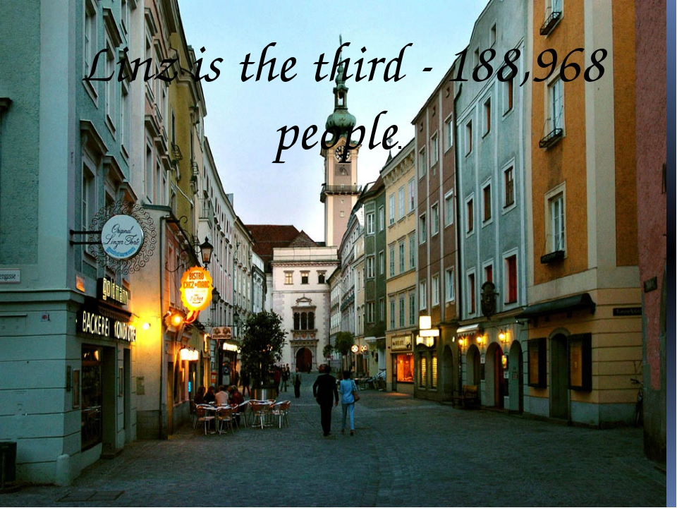 Linz is the third - 188,968 people.