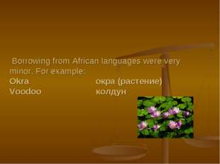 Borrowing from African languages were very minor. For example: Okra окра (ра