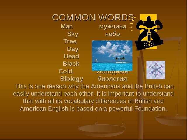 COMMON WORDS Man мужчина Sky небо Tree дерево Day день Head голова Black...