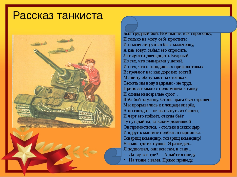 Рассказ танкиста Был трудный бой. Всё нынче, как спросонку, И только не могу...