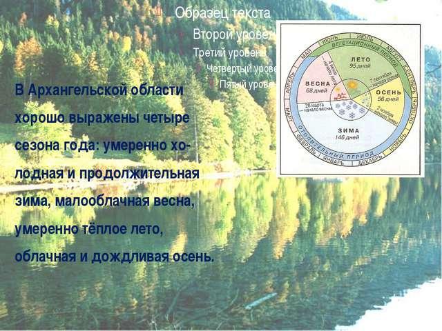 В Архангельской области хорошо выражены четыре сезона года: умеренно хо- лод...