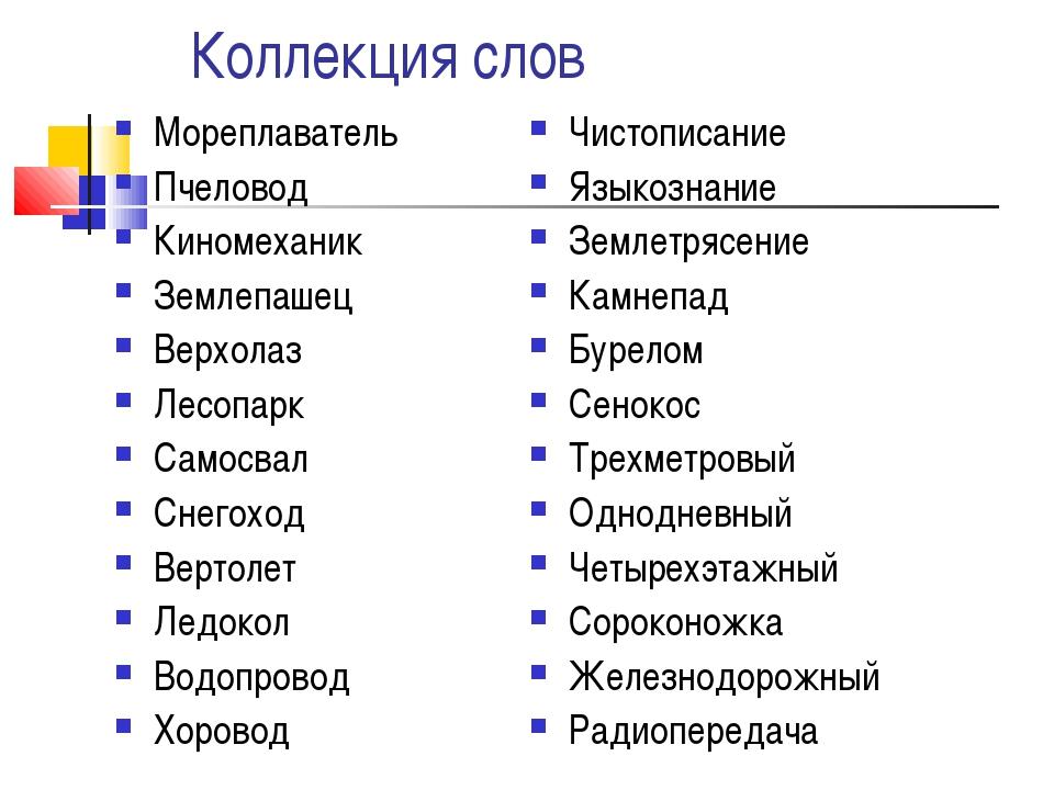 Коллекция слов Мореплаватель Пчеловод Киномеханик Землепашец Верхолаз Лесопа...