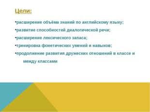 Цели: расширение объёма знаний по английскому языку; развитие способностей ди