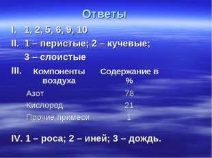 Ответы I. 1, 2, 5, 6, 9, 10 II. 1 – перистые; 2 – кучевые; 3 – слоистые III.