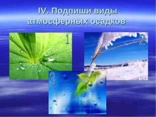 IV. Подпиши виды атмосферных осадков