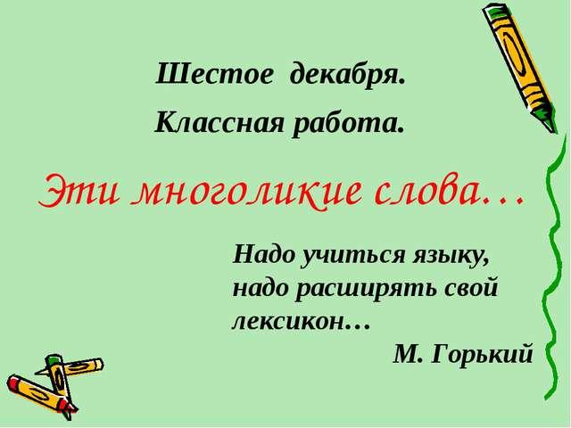 Шестое декабря. Эти многоликие слова… Надо учиться языку, надо расширять свой...