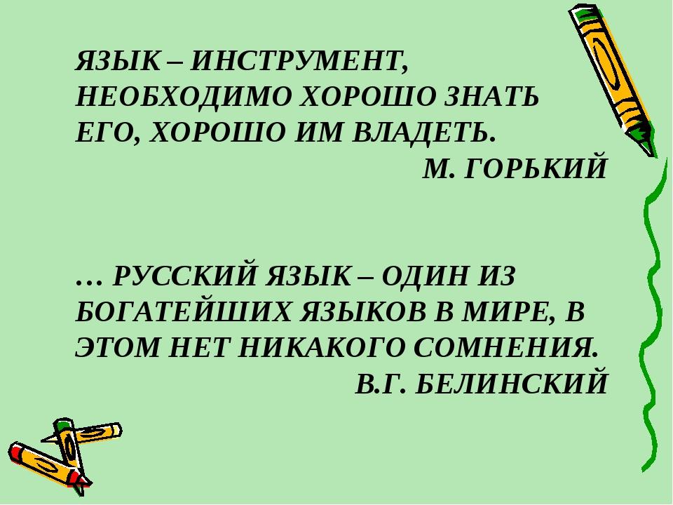 ЯЗЫК – ИНСТРУМЕНТ, НЕОБХОДИМО ХОРОШО ЗНАТЬ ЕГО, ХОРОШО ИМ ВЛАДЕТЬ. М. ГО...