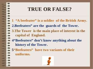 """TRUE OR FALSE? 1 """"A beefeater"""" is a soldier of the British Army. 2.Beefeaters"""