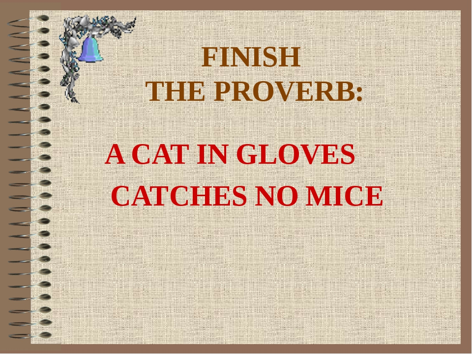 FINISH THE PROVERB: A CAT IN GLOVES CATCHES NO MICE