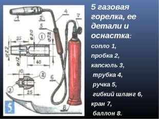 5 газовая горелка, ее детали и оснастка: сопло 1, пробка 2, капсюль 3, трубка