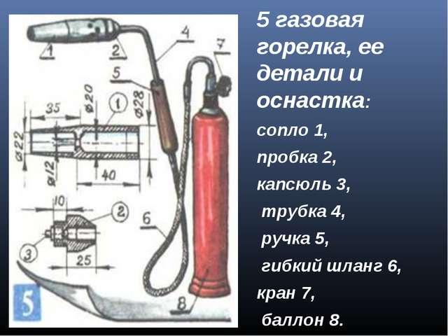 5 газовая горелка, ее детали и оснастка: сопло 1, пробка 2, капсюль 3, трубка...