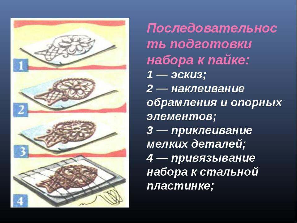 Последовательность подготовки набора к пайке: 1 — эскиз; 2 — наклеивание обра...