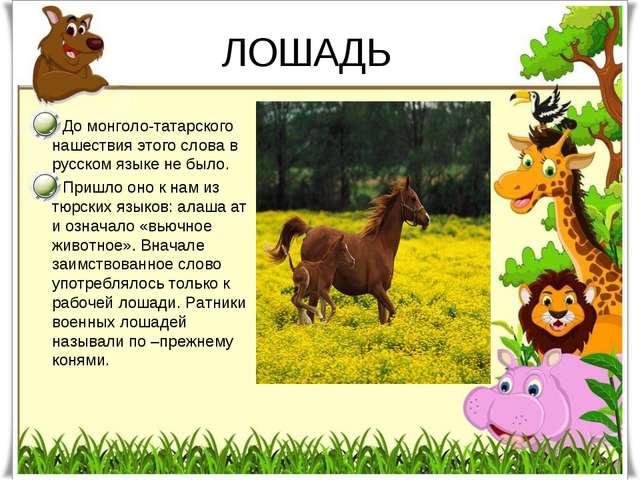 ЛОШАДЬ До монголо-татарского нашествия этого слова в русском языке не было. П...