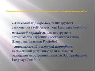 Различные виды языкового портфеля в зависимости от его целевой направленности