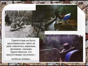 Препятствия не были однообразными: мели на реке сменялись завалами, заломами