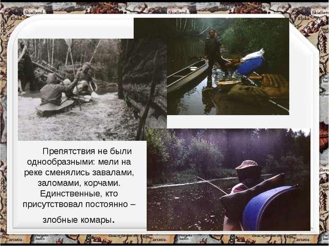 Препятствия не были однообразными: мели на реке сменялись завалами, заломами...