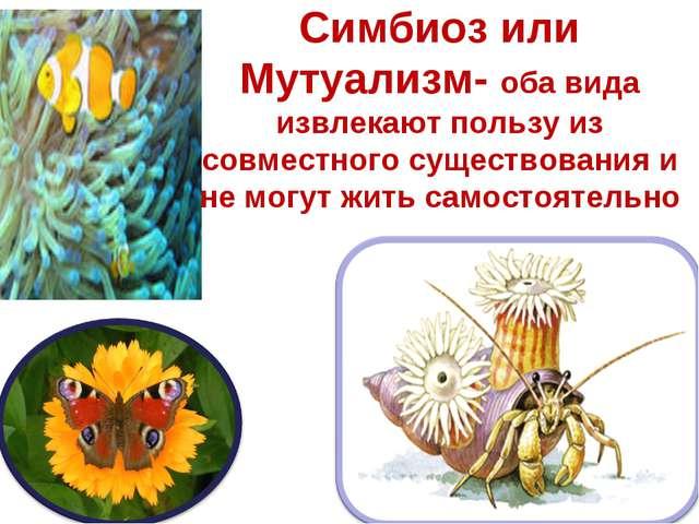 Симбиоз или Мутуализм- оба вида извлекают пользу из совместного существования...