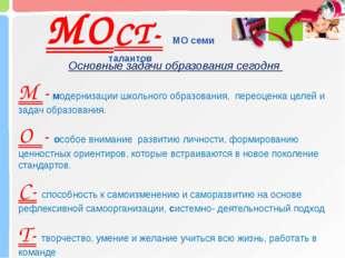 МОСТ- МО семи талантов Основные задачи образования сегодня М - модернизации ш