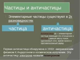 Частицы и античастицы Элементарные частицы существуют в 2х разновидностях час