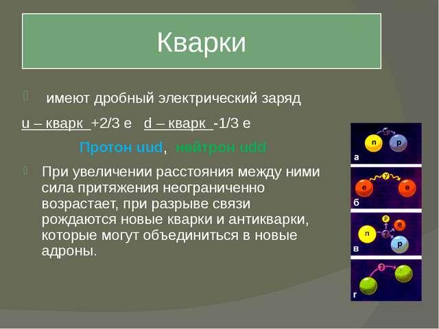 Кварки имеют дробный электрический заряд u – кварк +2/3 е d – кварк -1/3 е Пр...