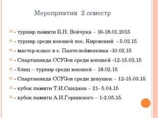 Мероприятия 2 семестр - турнир памяти Б.Н. Войчука – 16-18.01.2015 - турнир с