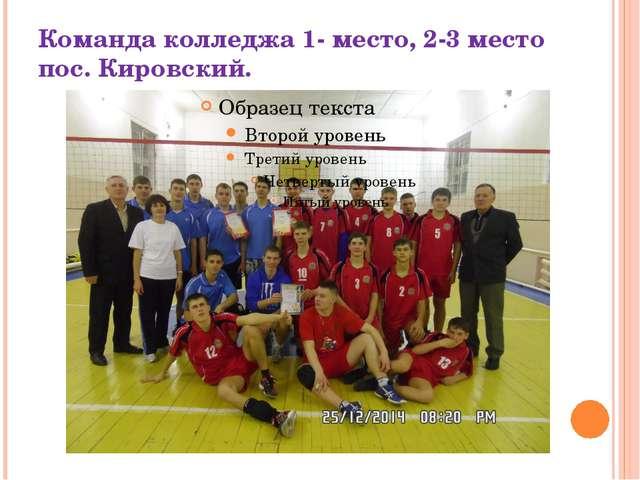 Команда колледжа 1- место, 2-3 место пос. Кировский.