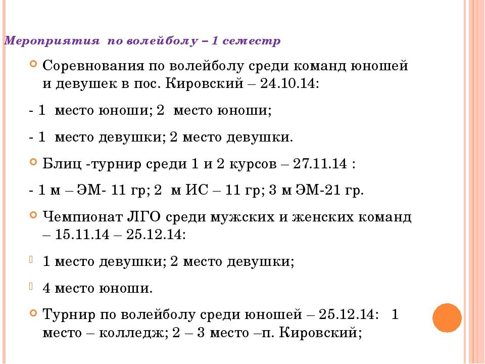 Мероприятия по волейболу – 1 семестр Соревнования по волейболу среди команд ю...
