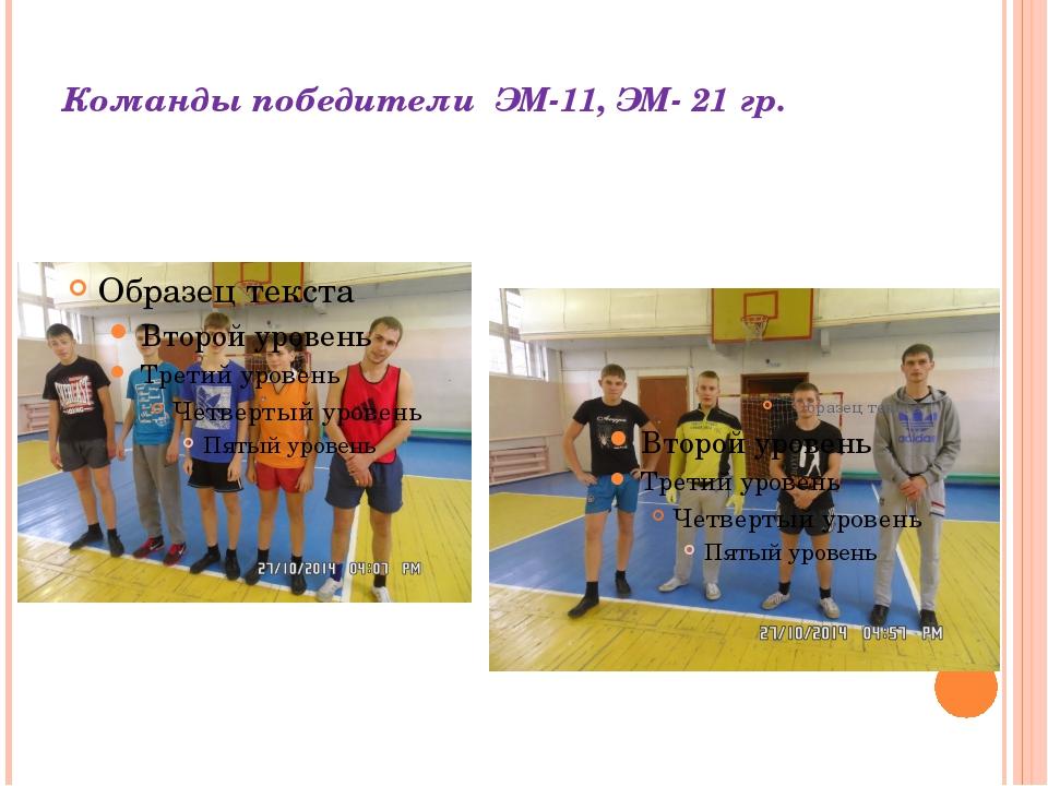 Команды победители ЭМ-11, ЭМ- 21 гр.