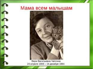 Вера Васильевна Чаплина 24 апреля 1908 – 19 декабря 1994 Мама всем малышам