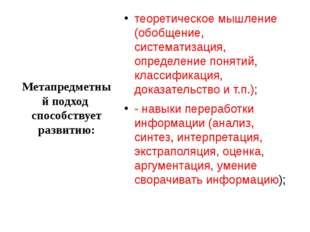 Метапредметный подход способствует развитию: теоретическое мышление (обобщени