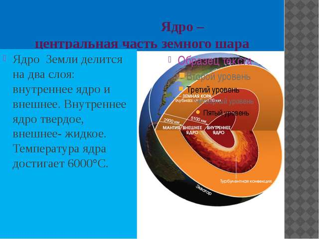 Ядро – центральная часть земного шара Ядро Земли делится на два слоя: внутре...