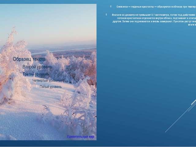 Снежинки — ледяные кристаллы — образуются в облаках при температуре -20-40 гр...