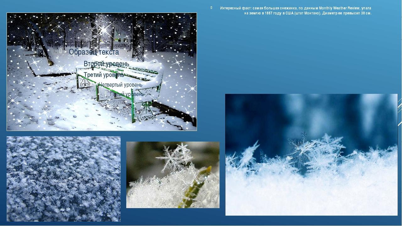 Интересный факт:самая большая снежинка, по данным Monthly Weather Review, уп...