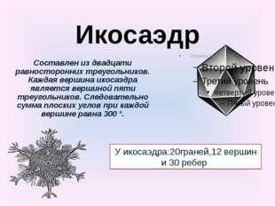 Икосаэдр Составлен из двадцати равносторонних треугольников. Каждая вершина и