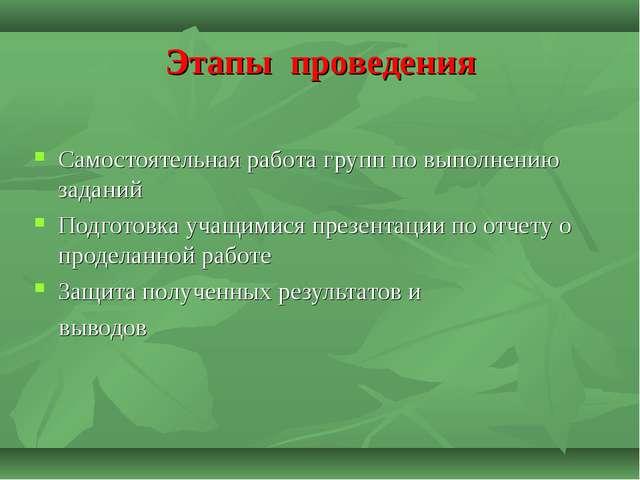 Этапы проведения Самостоятельная работа групп по выполнению заданий Подготовк...