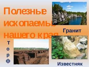 Полезные ископаемые нашего края Гранит Известняк Т о р ф